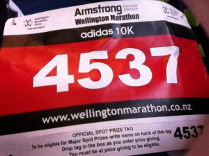 Amy's race number (Adidas 10km)